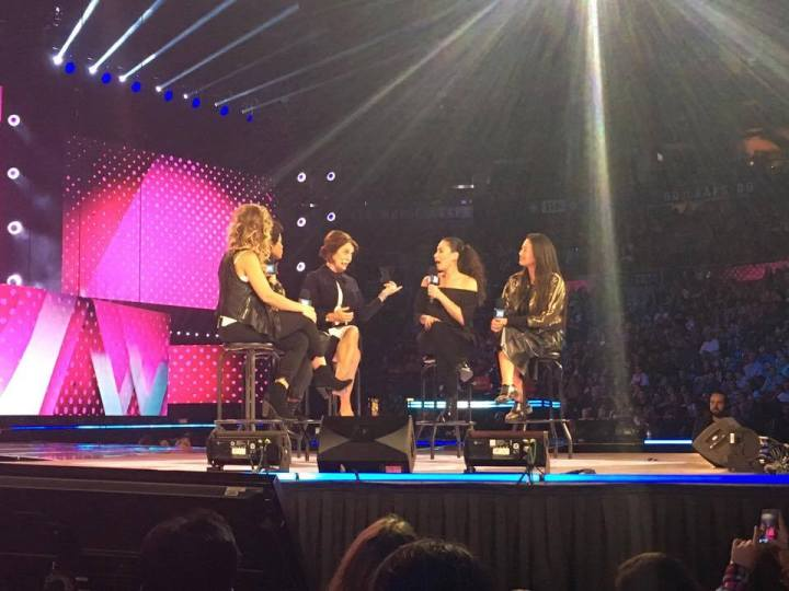 Margaret Trudeau speaking with the hosts of CTV's 'The Social' on stage at WE Day Family. (Photo credit: Gabrielle Reyes/RUtv News)