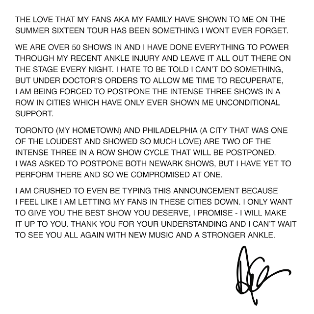 Drake's Summer Sixteen Tour Statement
