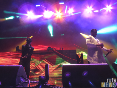 Locally-based rapper Smoke Dawg joins French Montana on stage at 6 Fest. (Photo credit: Angela McLean/RUtv News)