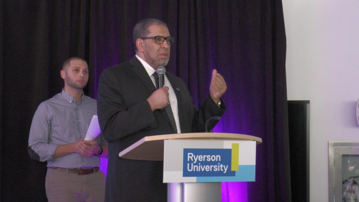 Mohamed Lachemi, Ryerson's president and vice-chancellor, speaks at the launch of Sandbox by DMZ Feb. 1. (Photo credit: Anna Cianni/RUtv News)