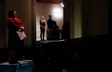 Performance artists of The Forest, an installation at the Art Gallery of Ontario, recite poetry to spectators. (Photo credit: Emma Sandri/RUtv News)