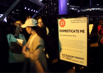 Attendees line up to view Domesticate Me, one of the many exhibits located at Nathan Phillips Square. (Photo credit: Emma Sandri/RUtv News)