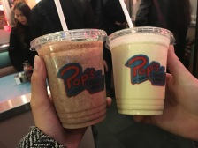 Veronica (double chocolate) and Betty (old fashioned vanilla) milkshakes in official Pop's cups. (Photo credit: Jasmine Bala/RUtv News)