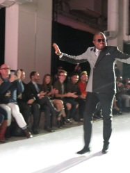 James Adeyanju, creator of JMtrends, takes a walk down the runway to close the show. (Photo credit: Jessica Tucciarone/RUtv News)