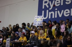 The Ryerson Student Section begins the trash talk of the night, poking fun at the University of Ottawa's name (Photo credit: Brent Smyth/RUtv News).