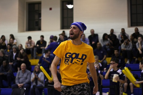 In-game host Ivan Derakhshani makes some noise during a Gee-Gees timeout (Photo credit: Brent Smyth/RUtv News).