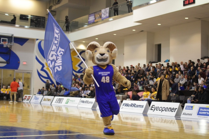 Eggy does his best to fire up the crowd before the men's team faces the Ravens (Photo credit: Brent Smyth/RUtv News).