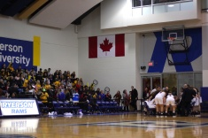 The Ryerson student section forced the Ravens to hold their timeouts in the middle of the court due to the noise production (Photo credit: Brent Smyth/RUtv News).