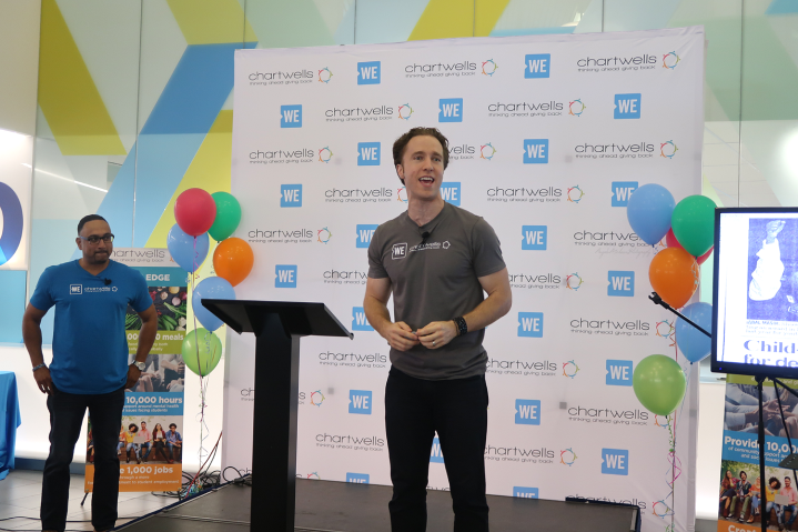Ashton Sequeira (Chartwells) and Craig Kielburger (WE) launching the WE Special at Ryerson University, Toronto